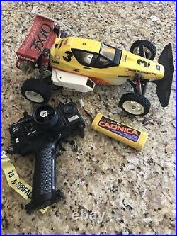 1980s Team Futaba FX 10 RC Car & Airtronics RC Vector VT 2P & Battery & Charger