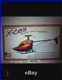 2 Xcell helicopters (New)gasser 1005 &futaba servos zenoha kalt G23&used muffler