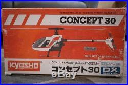 NOS Kyosho Concept 30dx RC helicopter, NOS OS 32f motor, NOS Futaba Gyro